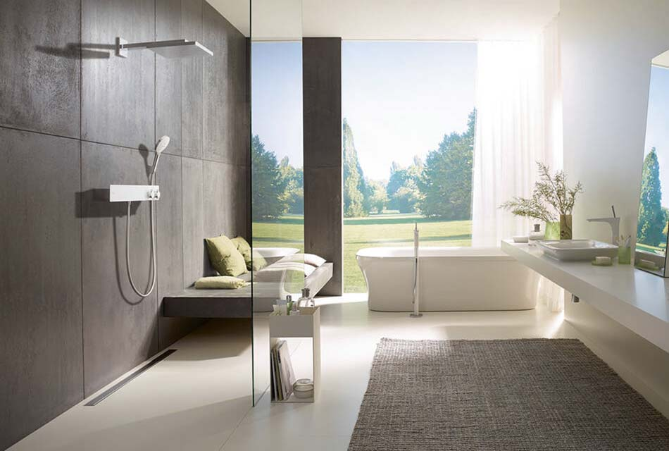 bathroom wit modern fixtures for sink, shower and tub