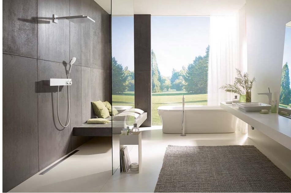 modern fixtures for sink, shower and tub in bathroom