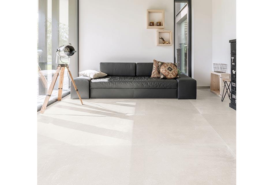 Modern living room with porcelain tile flooring