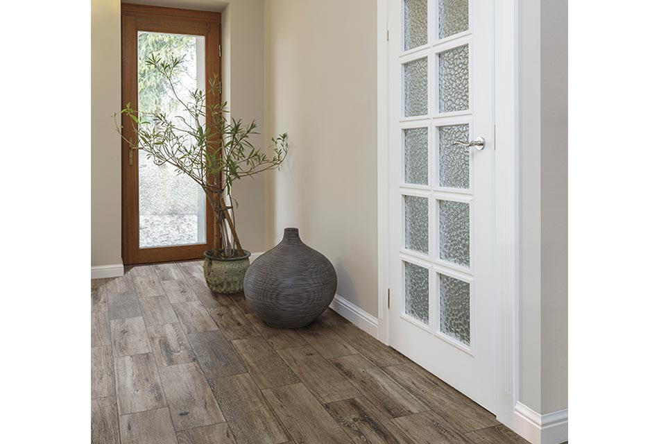 Entry with porcelain tile flooring