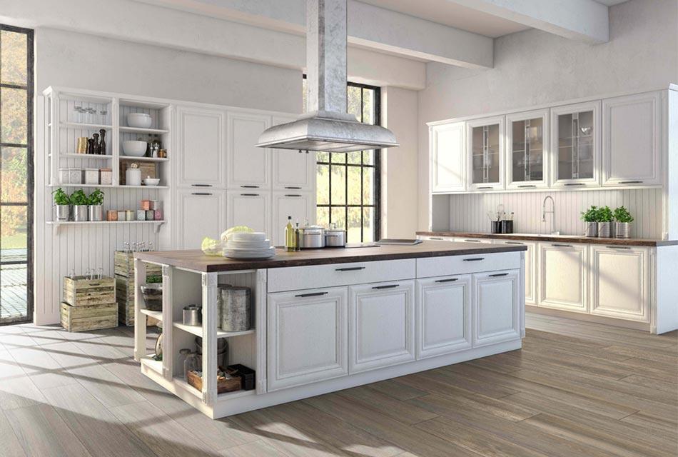 Kitchen with porcelain tile flooring