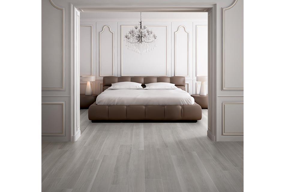 Bedroom with porcelain tile flooring