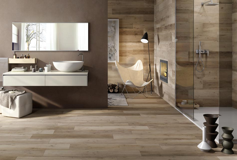 Bathroom with porcelain tile flooring